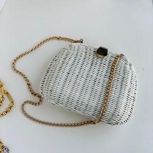 ◽️vintage◽️white wicker mini shoulder bag